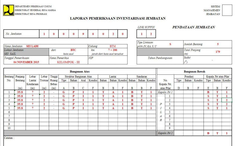 Contoh Inventarisasi Jembatan , Survei BMS 1